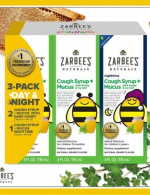 Set Siro ho cho bé Zarbee's Natural Children's Syrup + Mucus Day & Night 355ml