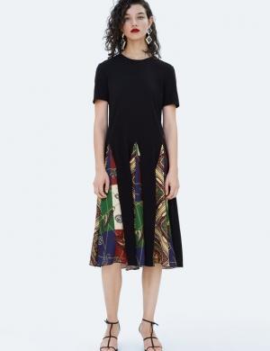 (Zara) Đầm Combined Printed nữ nhập TBN