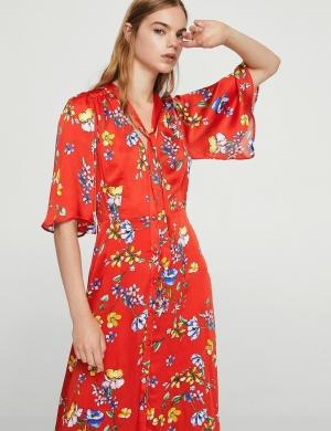 (Mango) Đầm Bow Floral nữ nhập TBN